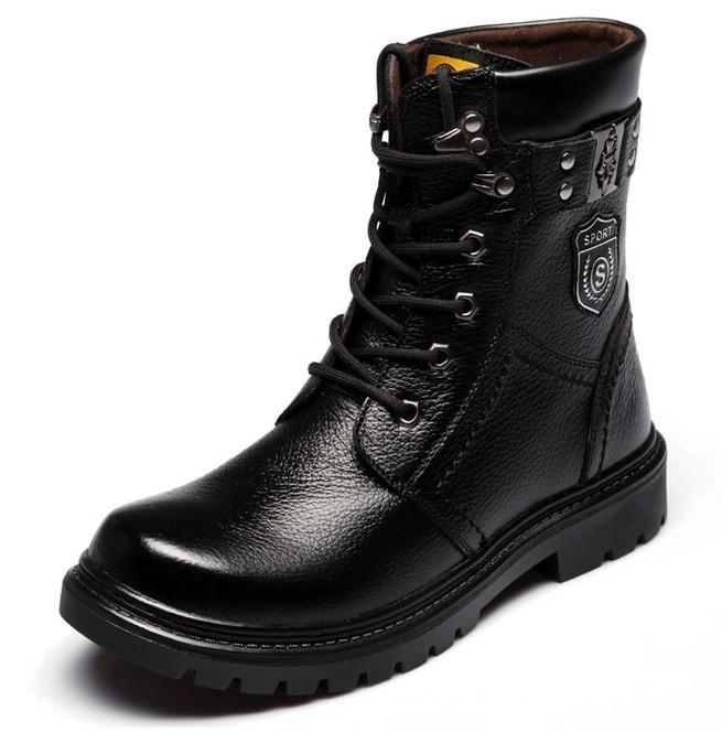 Men's Iron Buckle Strap Lace Up Martin Boots - PunkDesign