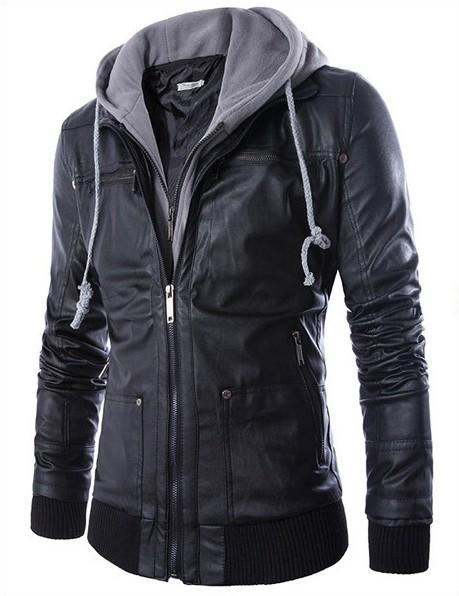 Men's Moto Racer Faux Leather Hooded Jackets - PunkDesign