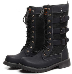 Punk Design Men's Multi Buckles Lace Up High Boots Martin Boots