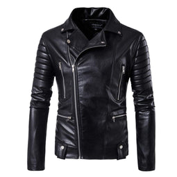 Men's Multi Zipper Faux Leather Moto Jacket - PunkDesign