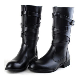 Men's Punk Buckle Strap Bandage Faux Leather Pointed Zipper Martin Boots - PunkDesign