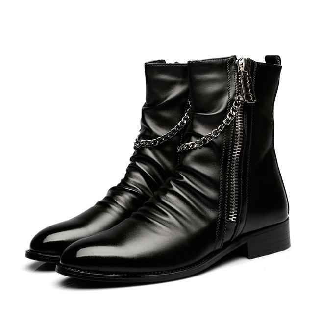 Men's Punk Gauffer Metal Chain Zipper Pointed Boots - PunkDesign