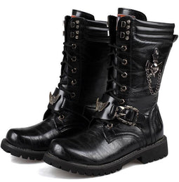 Men's Punk Laced Up Faux Leather Military Combat Boots - PunkDesign