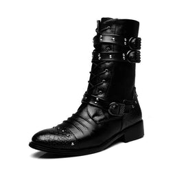 Men's Punk Rivets Lace Up Pointed Boots - PunkDesign