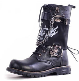 Men's Punk Rock Skull Buckle Martin Boots With Detachable Badge And Chain - PunkDesign