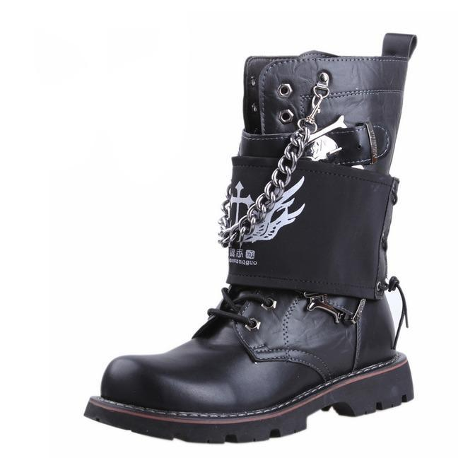 d41d6982f40 Men s Punk Rock Skull Buckle Martin Boots With Detachable Badge And Chain -  PunkDesign. Images   1   2   3 ...