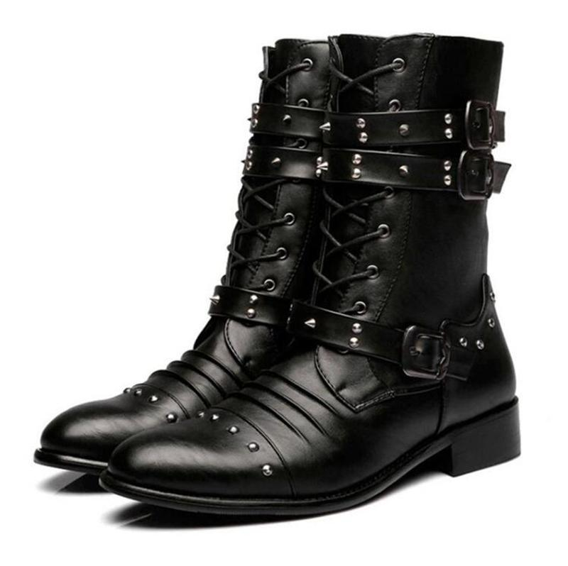 Men's Punk Steel Studs Zipper Men Pointed Martin Boots Men Army Boots - PunkDesign