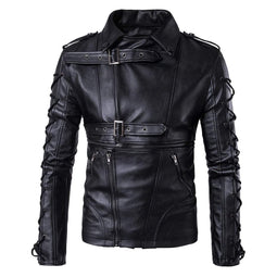 Men's Punk Zipper Side Lace Up Faux Leather Motorcycle Biker Jacket - PunkDesign