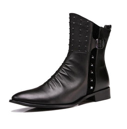 Men's Rivets Buttons Side Zipper Pointed Boots - PunkDesign