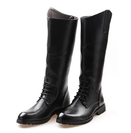 Men's Self Tie Back Zip Riding Boots - PunkDesign