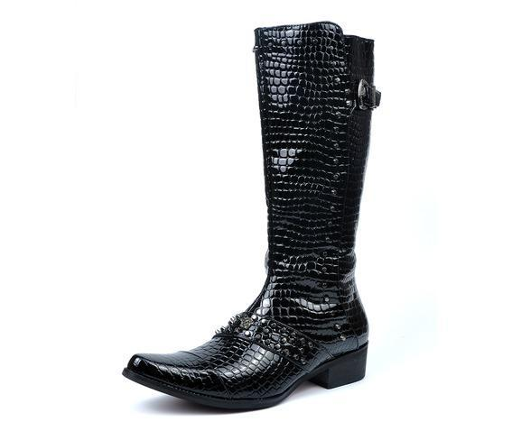 Men's Skull Rivets Artificial Snakeskin Pointed Martin Boots Black/Red - PunkDesign