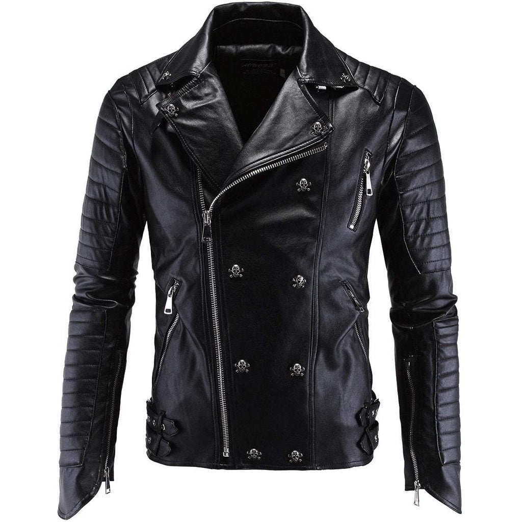 Men's Skull Turn Down Collar Multi Zipper Faux Leather Slim Jacket - PunkDesign