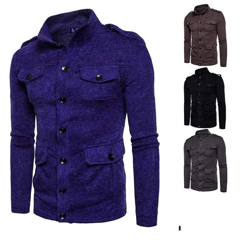 PUNK DESIGN Men's Stand Collar Multi Pockets Button Cardigan