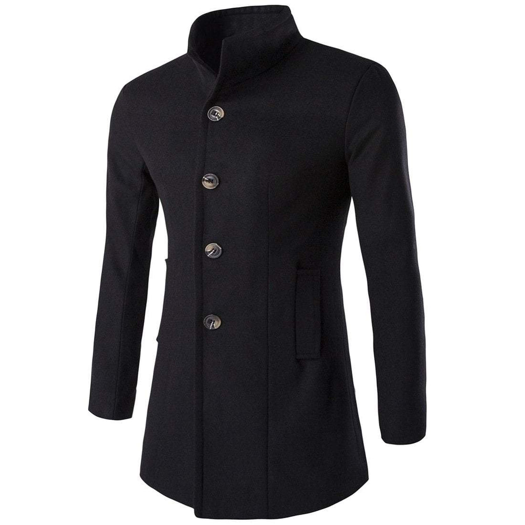 Men's Stand Collar Single Breasted Slim Fitted Coat - PunkDesign