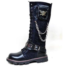 Men's Steampunk 16 Holes Metal Rivet High Boots Engineer Motorcycle Boot - PunkDesign