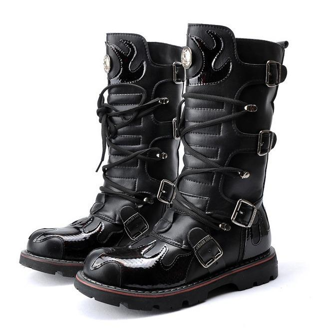 Men S Steampunk Fire Totem Black High Boots Motorcycle Boots Punk