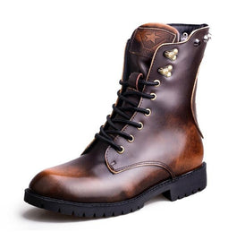 Men's Vintage Skull Rivets Lace Up Martin Boots-Punk Design