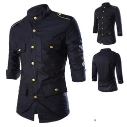 PUNK DESIGN Multi Pocket Epaulette 3/4 Sleeve Dress Shirt