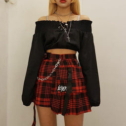 PUNK DESIGN Pre-Order Women's Goth Irregular Plaid Mini Skirt With Small Pocket