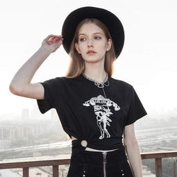 Punk Design Women's Casual Midriff Short Sleeved Tees