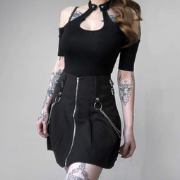 PUNK DESIGN Women's Goth Black Short Skirt With O-ring And Chains