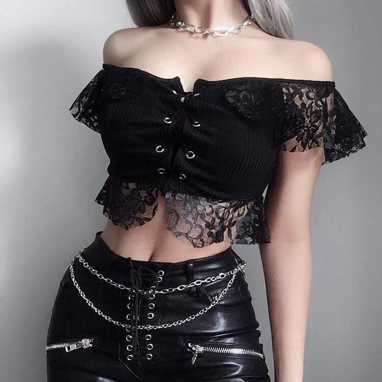 PUNK DESIGN Women's Goth Floral Lace Crop Top