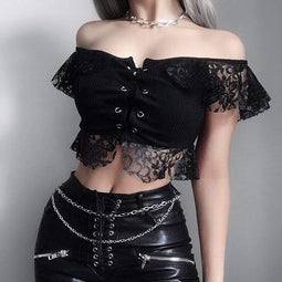 PUNK DESIGN Damen Goth Floral Lace Crop Top