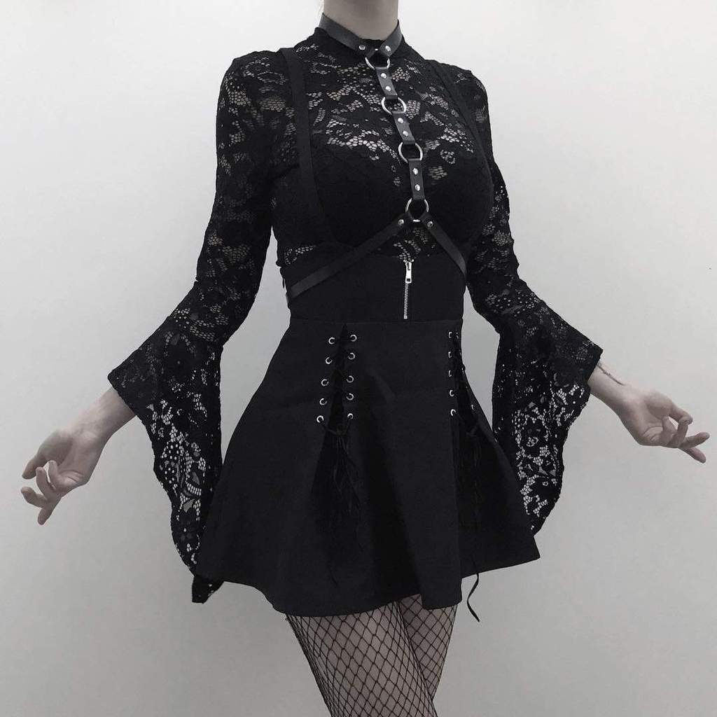 PUNK DESIGN Goth Gothal Lacey Top für Damen