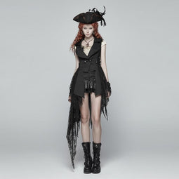 Women's Goth High-Low Flowing Lace Vest-Punk Design