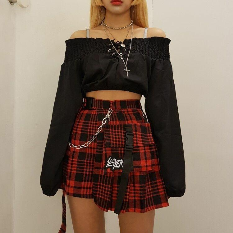 6994889491d1 ... Goth Irregular Plaid Mini Skirt With Small Pocket. Images / 1 / 2 ...