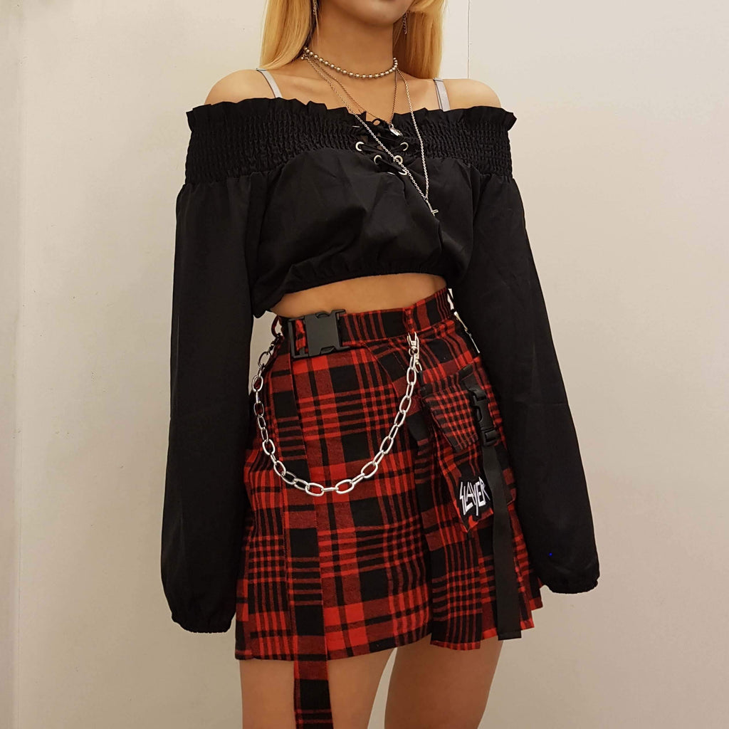 1279d34f46a5 ... Goth Irregular Plaid Mini Skirt With Small Pocket. Images / 1 / 2 / 3  ...
