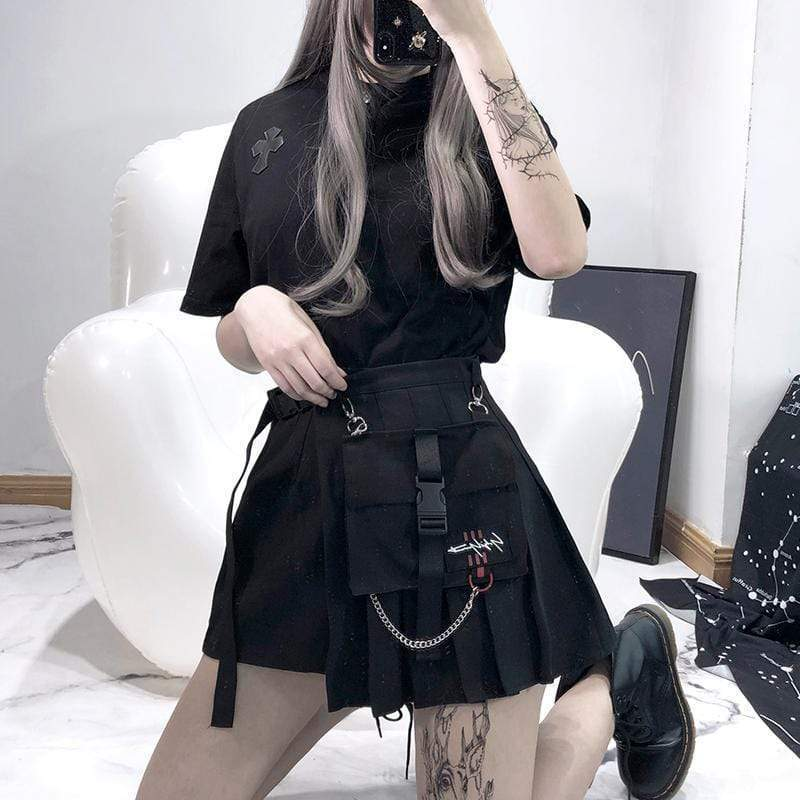 PUNK DESIGN Women's Goth Irregular Black Mini Skirt With Small Pocket