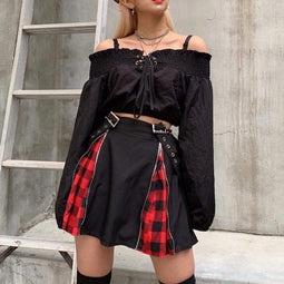 PUNK DESIGN Women's Goth Plaid Suspender Skirt