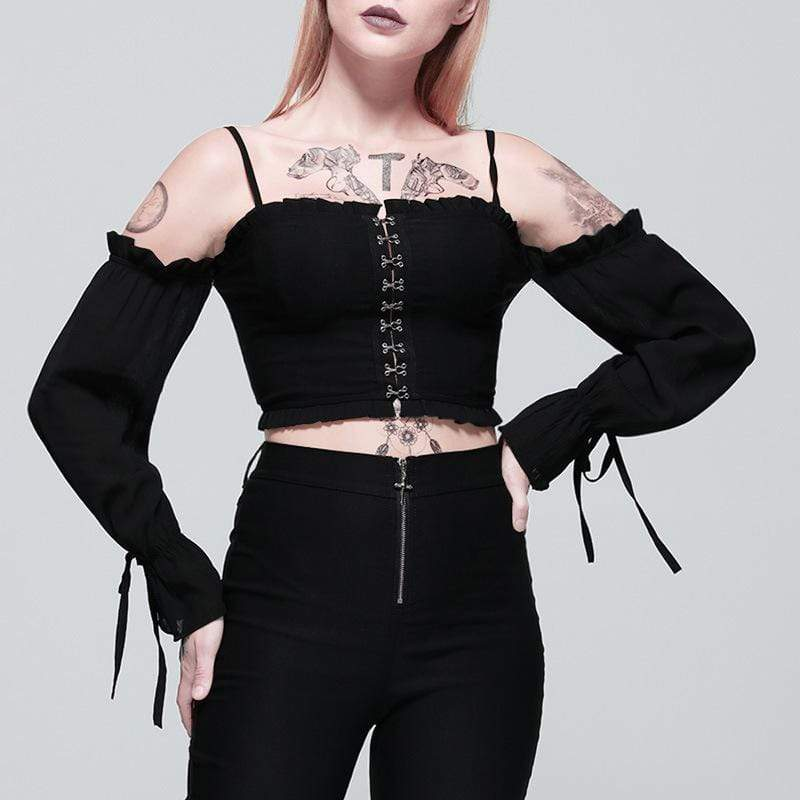 PUNK DESIGN Women's Goth Scissor Buttons Off Shoulder Vest With Flare Sleeves