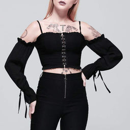 PUNK DESIGN Damen Goth Scissor Buttons Off Shoulder Weste mit Flare Sleeves