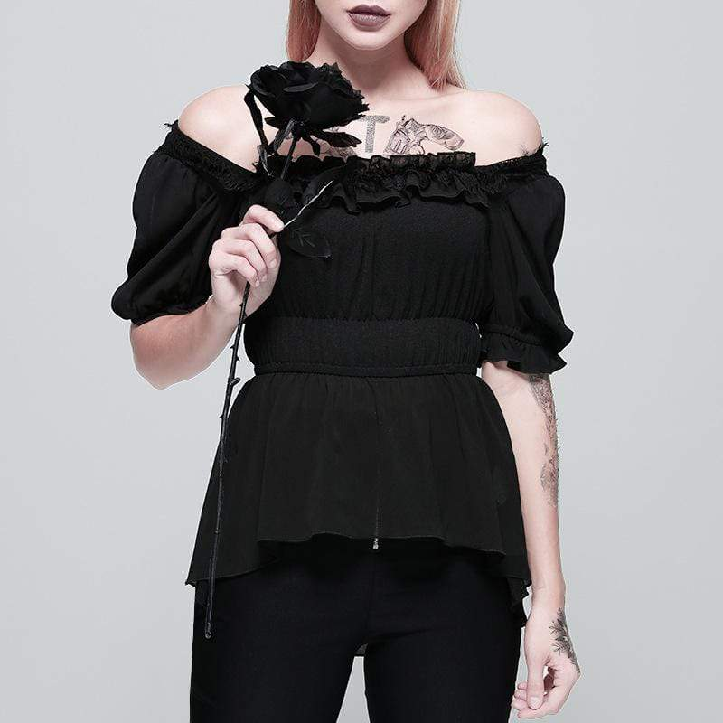 PUNK DESIGN Damen Goth Square Collar Chiffon High / Low Top mit Puffärmeln
