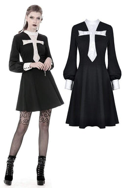 Punk Design Women's Gothic Vintage Skelenton Black Dresses With Big White Cross Front