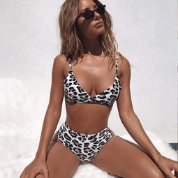 PUNK DESIGN Top leopardato da donna con set bikini a gamba alta