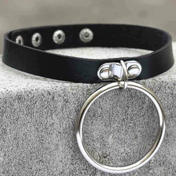 PUNK DESIGN Women's Punk Black Choker With Big O-ring