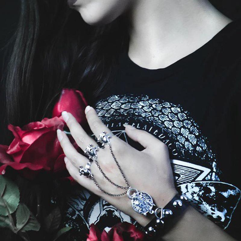 Women's Punk Black Faux Leather Bracelet With Three Skull Ring For Our Ins Followers-Punk Design