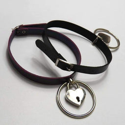 PUNK DESIGN Women's Punk Heart Lock Choker