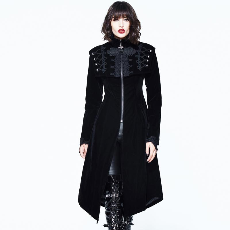 Frauenquadrat Bertha Kragen Goth Long Coat-Punk Design