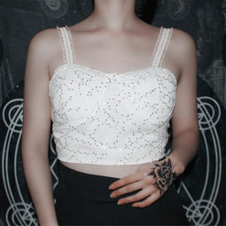 PUNK DESIGN Women's Vintage Lace Mesh Crop Top