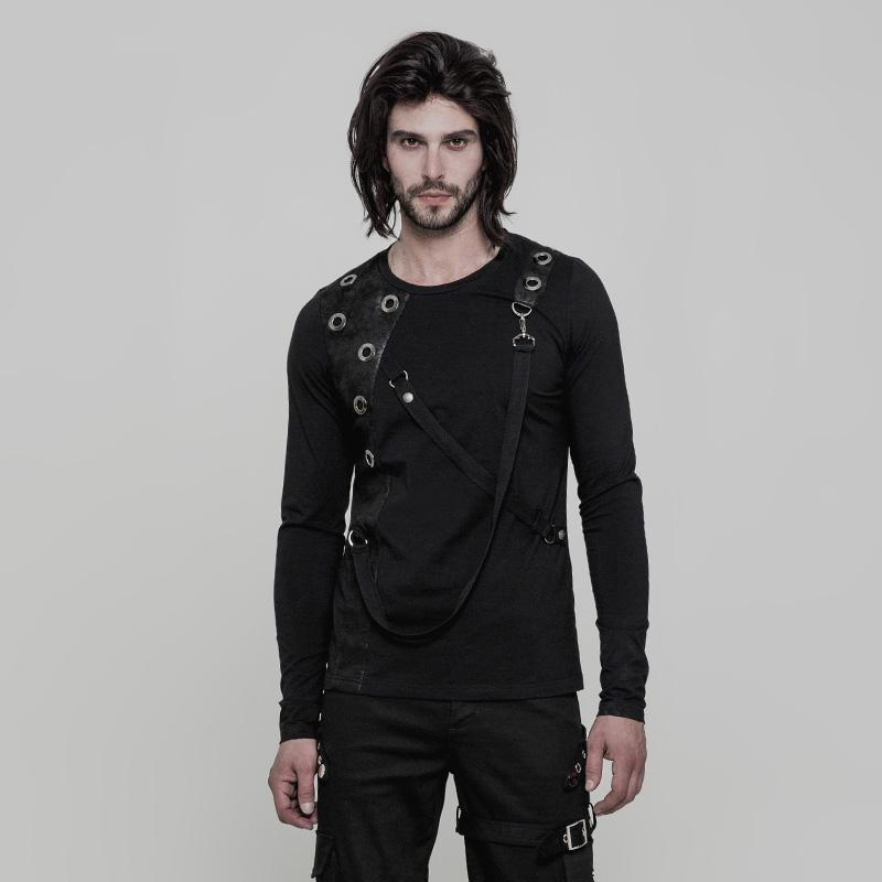 Men's Corns Deco Detachable Ribbon Long-sleeve T-shirt - PunkDesign
