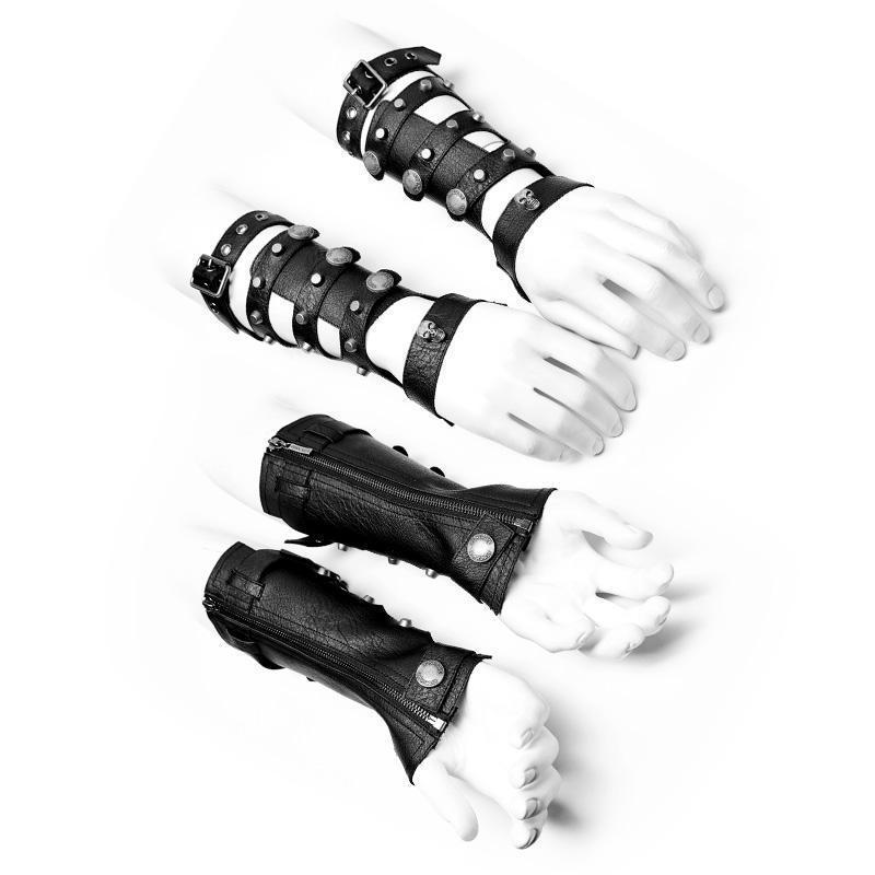 Men's Punk Hollow-out Faux Leather Zipper Gloves - PunkDesign