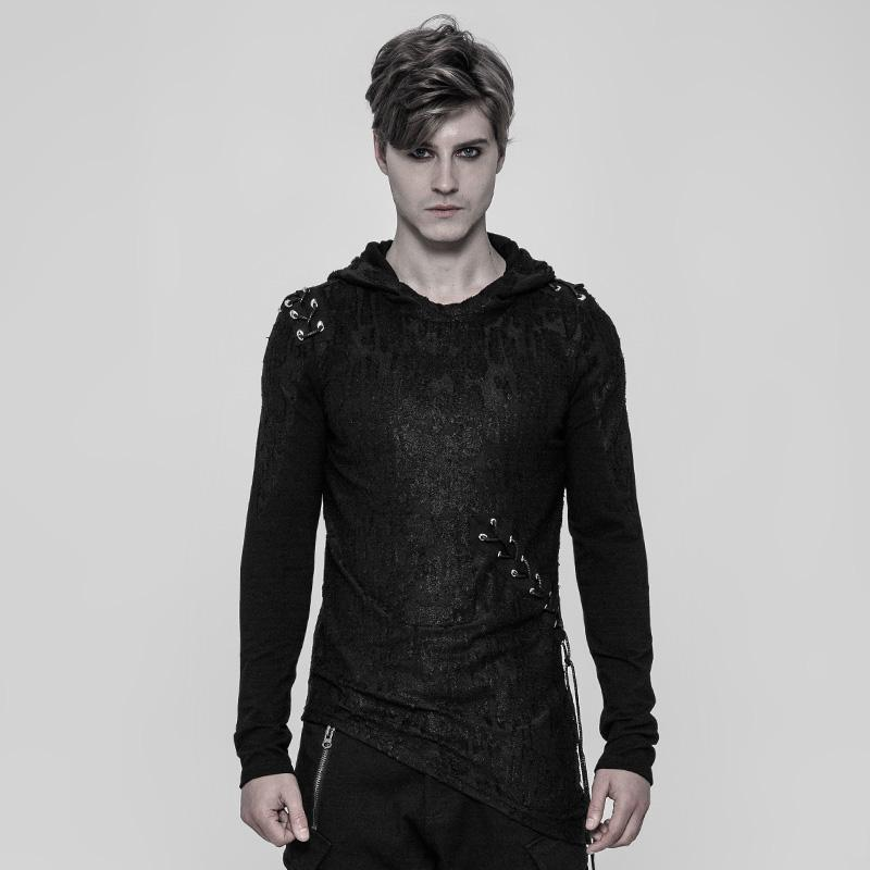 Men's Asymmetric Hooded Punk Top - PunkDesign