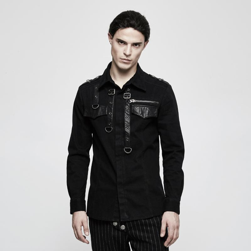 Men's Belted Design Slim Fitted Shirt - PunkDesign