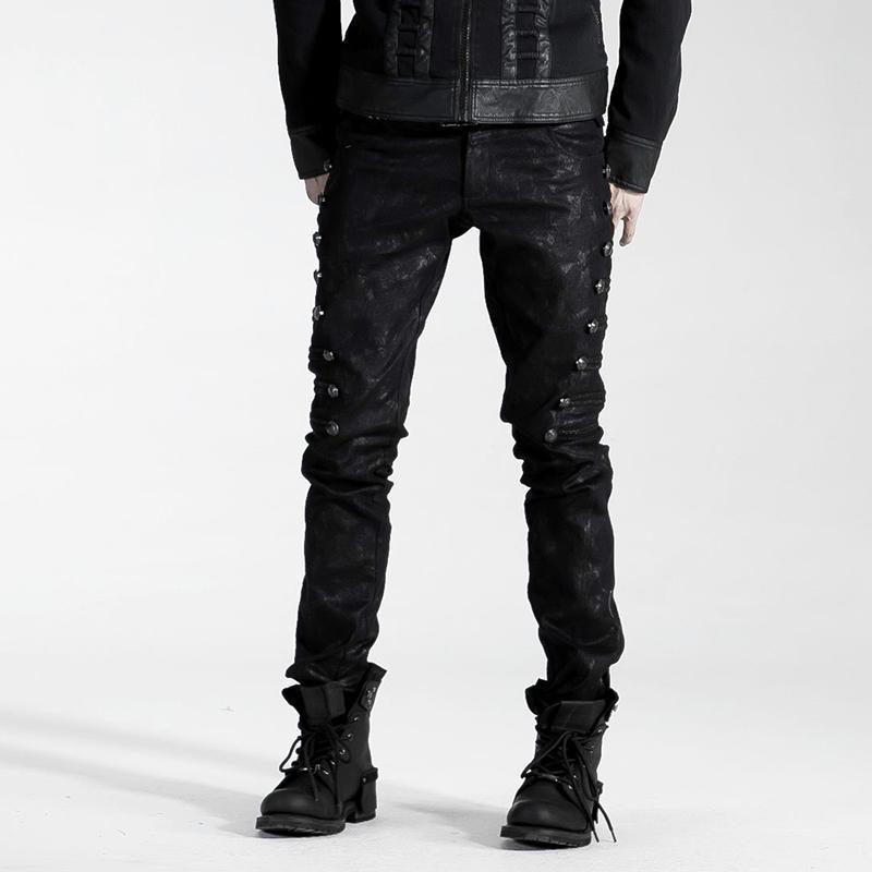 Herren Black Rivets Pants - Punk Design