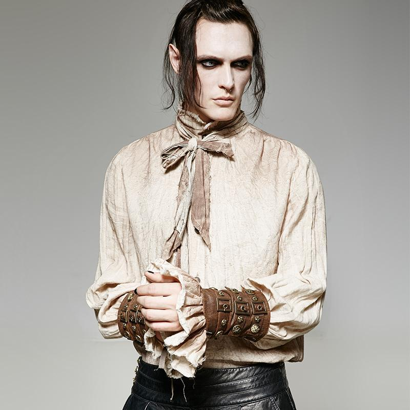 Men's Brass Buttons Lace Up Faux Leather Arm Sleeves Gloves - PunkDesign