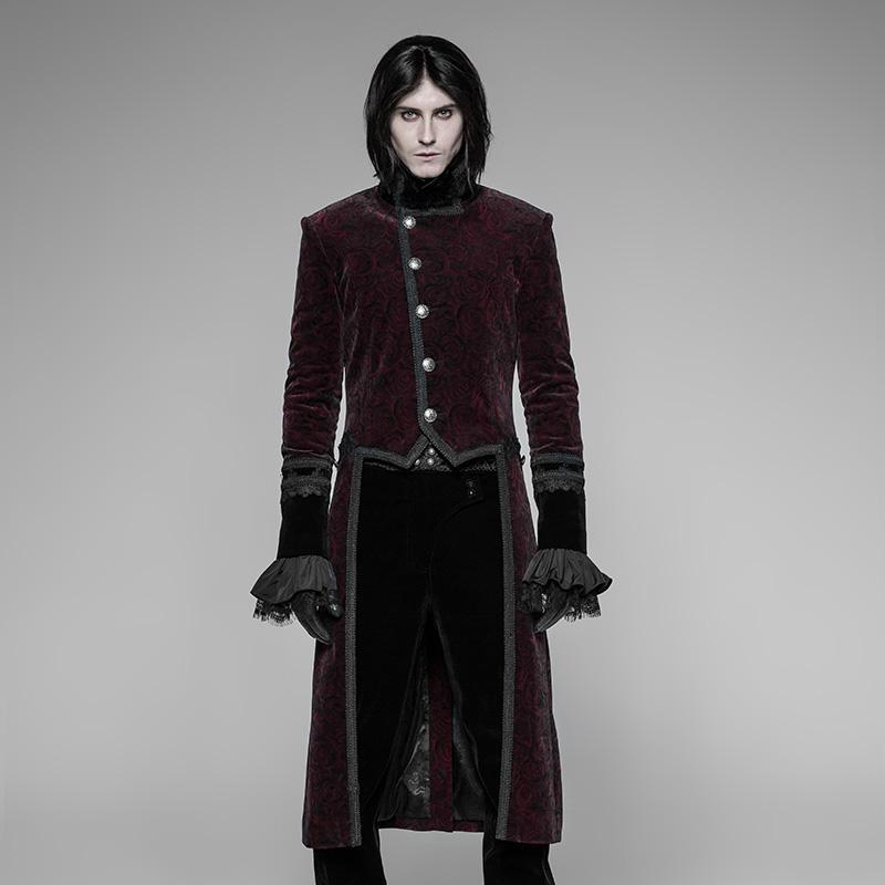 Men's Burgundy & Black Goth Tailcoat - PunkDesign
